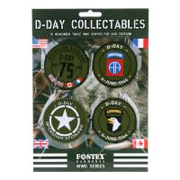 LOT DE 4 ECUSSONS PATCHS COLLECTION D-DAY FOSTEX BRODE THERMOCOLLANT