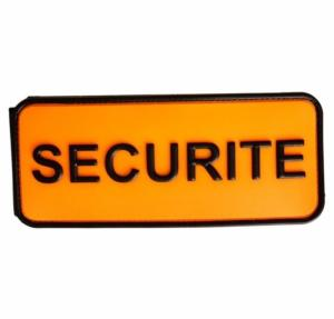 BRASSARD SCRATCH SIGLE SECURITE EN PLASTIQUE ORANGE FLUORESCENT ET NOIR