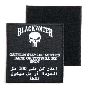ECUSSON / PATCH 3D BRODE SCRATCH BLACKWATER CAUTION 100 METRES NOIR ET BLANC AIRSOFT