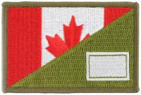 PATCH / ECUSSON TISSU THERMOCOLLANT BRODE DEMI DRAPEAU CANADIEN CANADA