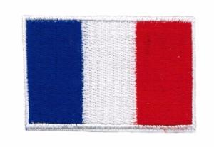 ECUSSON OU PATCH DRAPEAU FRANCAIS CONTOUR BLANC BRODE THERMO COLLANT