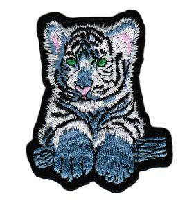 ECUSSON OU PATCH TIGRE BLANC ET BLEU BRODE THERMO COLLANT