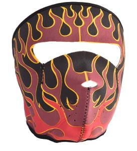 MASQUE DE PROTECTION NEOPRENE FLAMMES ROUGES ET BORDEAUX