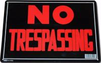 PLAQUE DECORATIVE EN METAL 35.8 X 25.5 CM NO TRESPASSING