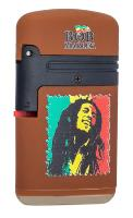 BRIQUET TEMPETE PROF RECHARGEABLE DOUBLE FLAMME FINITION GOMME MARRON COLLECTION BOB MARLEY