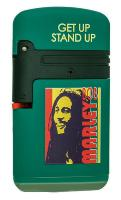 BRIQUET TEMPETE PROF RECHARGEABLE DOUBLE FLAMME FINITION GOMME VERT COLLECTION BOB MARLEY