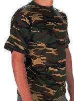 TEE SHIRT CAMOUFLAGE WOODLAND COL ROND ET MANCHES COURTES MILTEC