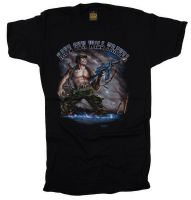 "TEE SHIRT NOIR MANCHES COURTES IMPRIME "" HAVE GUN WILL TRAVEL """