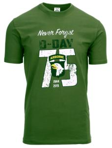 TEE SHIRT VERT MANCHES COURTES NEVER FORGET D-DAY 75 YEARS AIRBORNE