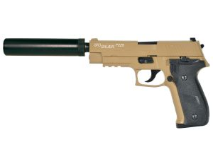 SIG SAUER P226 GAZ TAN BEIGE SABLE KJ WORKS FULL METAL LOURD SYSTEME BLOW BACK+SILENCIEUX+MALLETTE