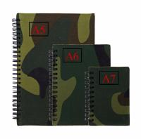BLOC NOTE / CARNET A SPIRALE FORMAT A5 ( 20.8 X 14.6 CM ) 50 PAGES COUVERTURE CAMOUFLAGE WOODLAND
