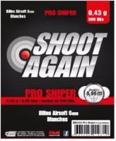 SACHET DE 500 BILLES BLANCHES 0.43G DE 5.95MM SHOOT AGAIN PRO SNIPER