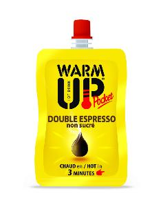PACK DE 6 BOISSONS EN GOURDE AUTO CHAUFFANTES WARM UP POCKET 100 ML - DOUBLE EXPRESSO NON SUCRE