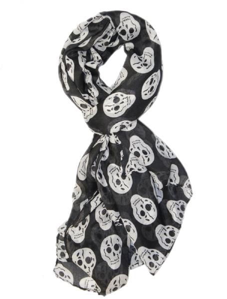 grande echarpe foulard cheche t tes de mort cr nes blancs sur fond noir viscose 170 x 100 cm. Black Bedroom Furniture Sets. Home Design Ideas