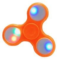 HAND SPINNER / TOUPIE A MAIN EN PLASTIQUE ORANGE AVEC LUMIERE LED MULTICOLOR