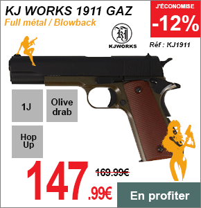 KJ WORK 1911 REPLIQUE FULL METAL
