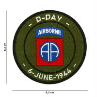 ECUSSON PATCH D-DAY 82ND AIRBORNE BRODE THERMOCOLLANT