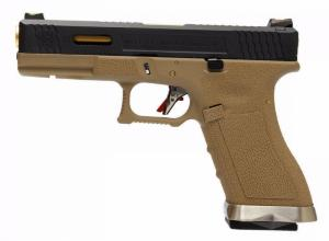 REPLIQUE PISTOLET G FORCE S17 SEMI AUTO GBB T6 TAN ET NOIRE CANON OR WE