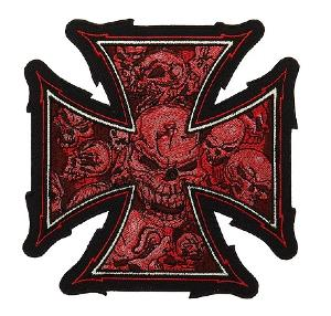 ECUSSON / PATCH BRODE MALTEZER CROSS SKULLS CROIX DE FER AUX CRANES ROUGE THERMO COLLANT AIRSOFT