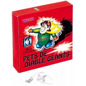 CARTON DE 24 BOITES DE 40 PETARDS PETS DE DIABLE OU DE LUCIFER GEANTS WECO