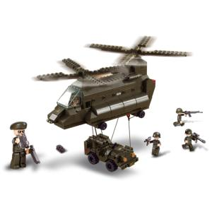 JEU DE CONSTRUCTION BRIQUE EMBOITABLE SLUBAN ARMY HELICOPTERE TRANSPORT M38-B6600 SOLDATS ARTICULES