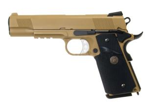 M.E.U. 1911 TAN WE GAZ BLOW BACK FULL METAL SEMI AUTO HOP UP 0.8 JOULE