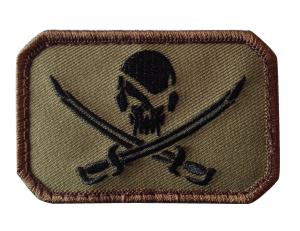 ECUSSON / PATCH RECTANGULAIRE PIRATE SKULL VERT OLIVE A SCRATCH MSM