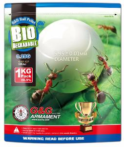BILLES BIODEGRADABLES BLANCHES G&G ARMAMENT 3500 X 0.28G HAUTE PRECISION EN SACHET