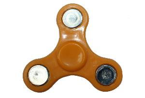 HAND SPINNER / TOUPIE A MAIN EN PLASTIQUE ET METAL PETIT MODELE ORANGE