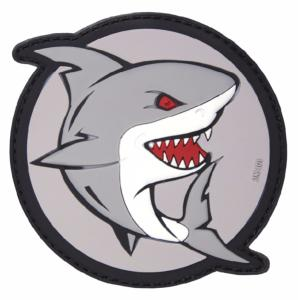 PATCH / ECUSSON 3D PVC VELCRO REQUIN QUI ATTAQUE GRIS ROUGE ET BLANC