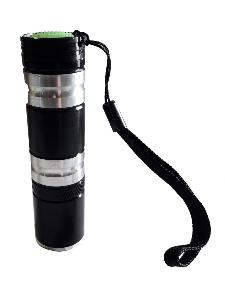 LAMPE TORCHE FLASHLIGHT  1 LED EN METAL NOIR ARGENT 10 CM
