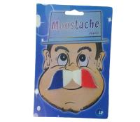 MOUSTACHE DRAPEAU SUPPORTER FRANCE AUTOCOLLANTE