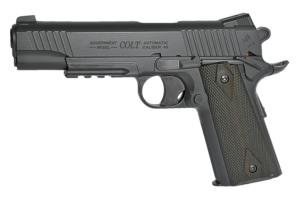 COLT 1911 RAIL GUN BLACKENED NOIR MAT CULASSE FIXE METAL CO2 1 JOULE