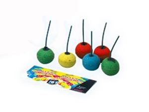 6 BALLES FUMIGENES DE COULEURS DIFFERENTES ( VERT, ORANGE ET JAUNE ) EN SACHET