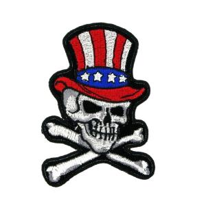 ECUSSON OU PATCH TETE DE MORT AVEC CHAPEAU COULEUR DRAPEAU USA BRODE THERMO COLLANT