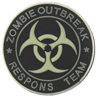 ECUSSON / PATCH PVC SCRATCH 3D ZOMBIE OUTBREAK RESPONS TEAM NOIR ET PHOSPHORESCENT AIRSOFT