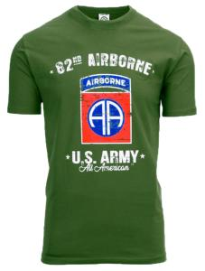 "TEE SHIRT VERT MANCHES COURTES 82ND AIRBORNE * US ARMY * "" ALL AMERICAN """