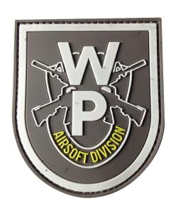 ECUSSON / PATCH EN PVC 3D WP AIRSOFT DIVISION GRIS VELCRO