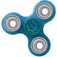 HAND SPINNER / TOUPIE A MAIN EN PLASTIQUE ET METAL TRANSPARENT UNI PAILLETTE COULEUR BLEU