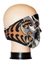 MASQUE DE PROTECTION NEOPRENE TETE DE MORT GRISE ET NOIRE TRIBALS ORANGE