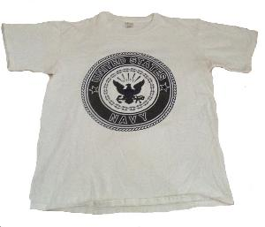 TEE SHIRT BLANC MANCHES COURTES IMPRIME LOGO US NAVY TAILLE S