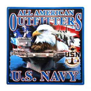 PLAQUE DECORATIVE EN METAL 36 X 36 CM ALL AMERICAN OUTFITTERS US NAVY