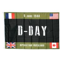 DRAPEAU D-DAY COUNTRIES OPERATION OVERLORD VERT ET NOIR 150 x 100 CM A OEILLETS
