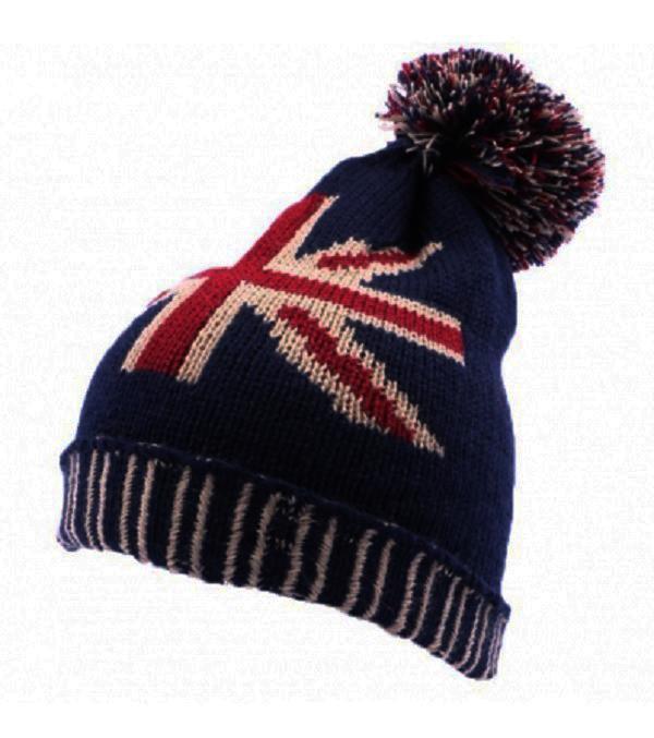 Bonnet acrylique bleu blanc rouge avec drapeau anglais - Drapeau rouge avec drapeau anglais ...