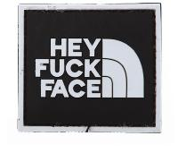 ECUSSON / PATCH 3D PVC SCRATCH HEY FUCK FACE NOIR ET BLANC AIRSOFT