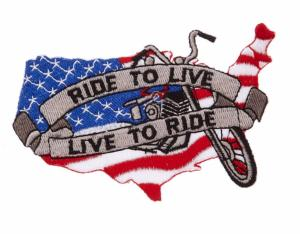 ECUSSON / PATCH BRODE LIVE TO RIDE DRAPEAU USA MOTO