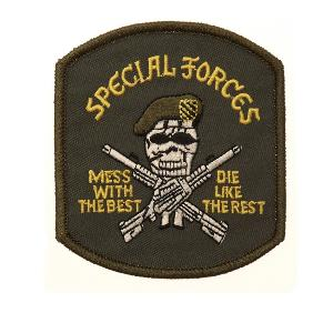 ECUSSON / PATCH BRODE SPECIAL FORCES SKULL AVEC BERET VERT THERMO COLLANT AIRSOFT