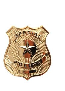 BADGE / INSIGNE ETOILE SPECIAL POLICE GOLD AVEC ATTACHE EPINGLE AIRSOFT