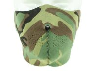 MASQUE DE PROTECTION DEMI VISAGE NEOPRENE REVERSIBLE CAMO WOODLAND / NOIR MILTEC