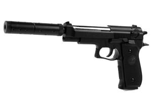 PISTOLET A BILLES M22 DOUBLE EAGLE SPRING HOP UP + SILENCIEUX 0.5 JOULE AIRSOFT